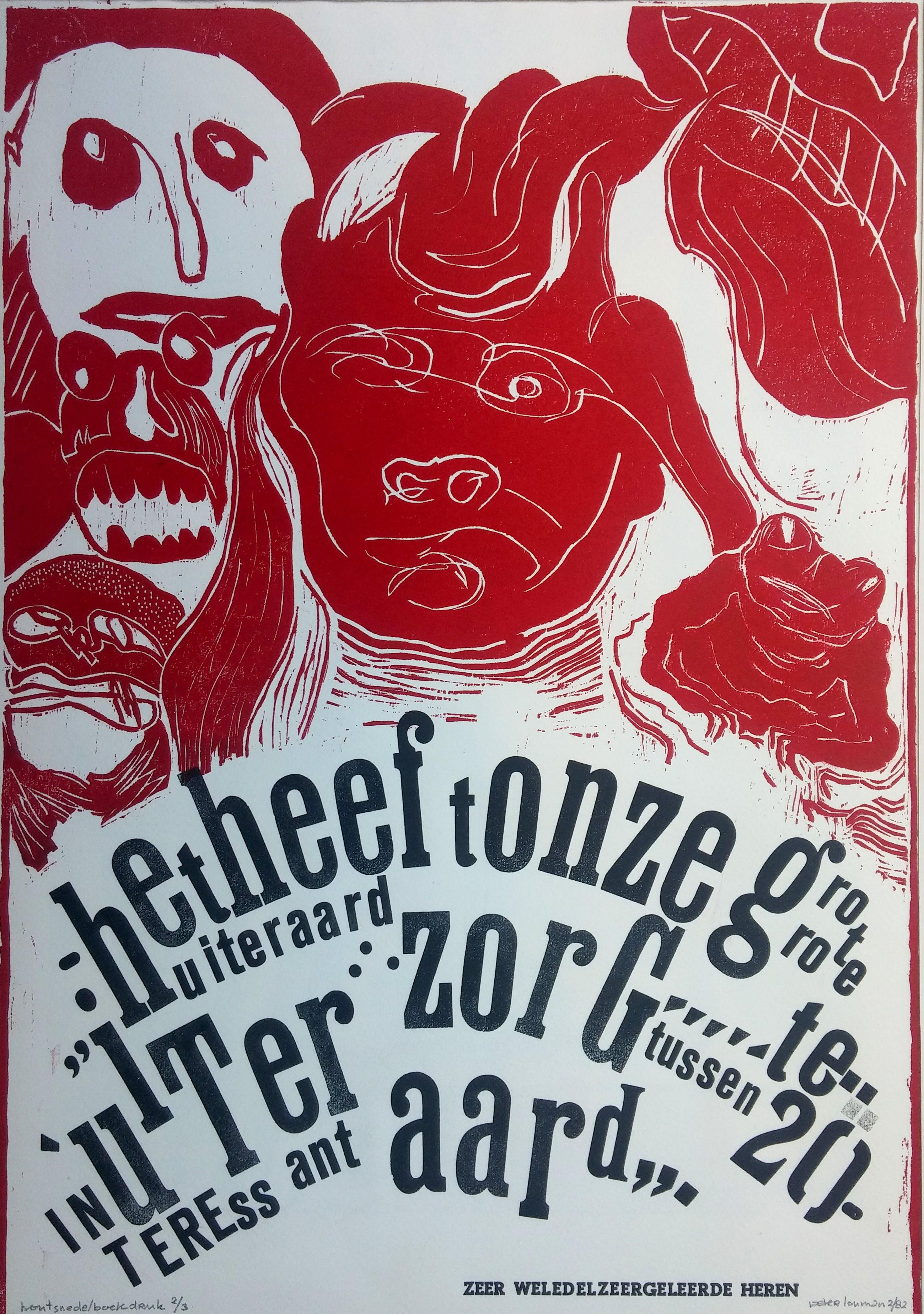 Peter Louman - Zeer Weledelgeleerde heren - vroege houtsnede/boekdruk (1975-1985) - zeldzaam kopen? Bied vanaf 75!