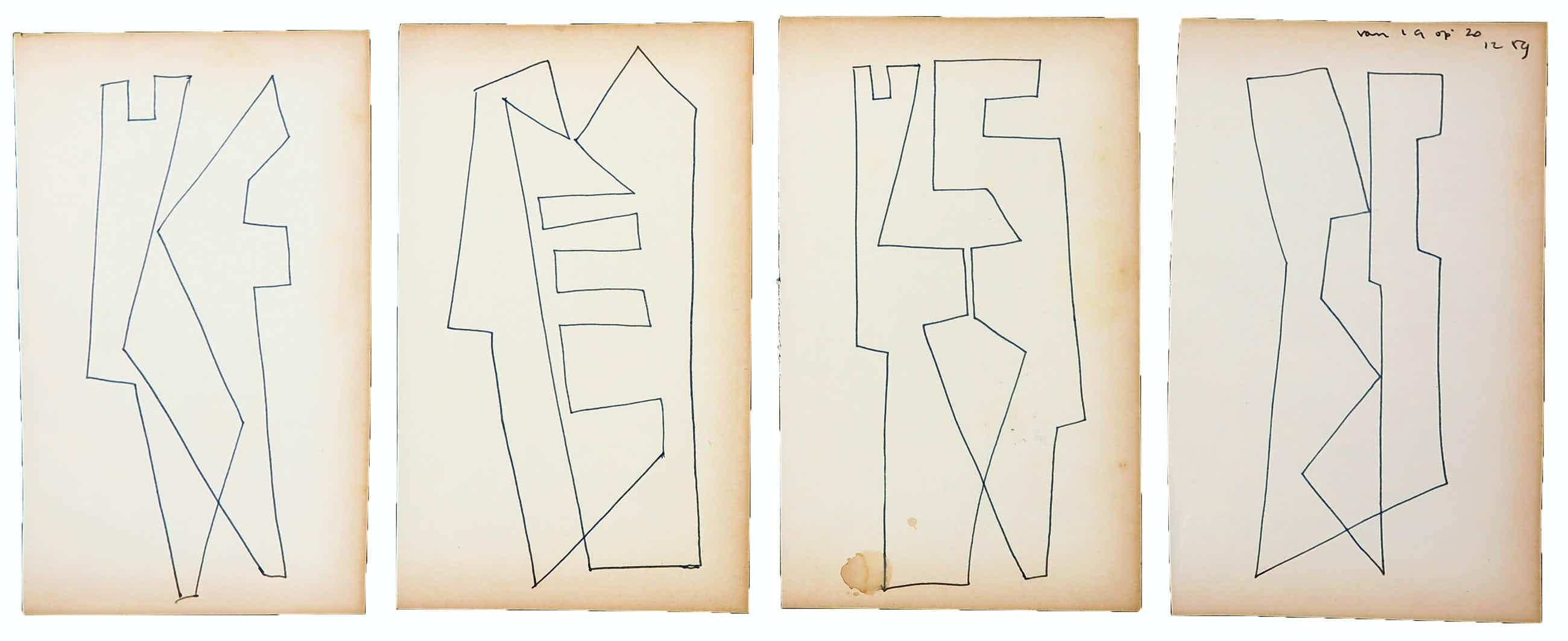Siep van den Berg - Lot van vier abstracte composities kopen? Bied vanaf 40!