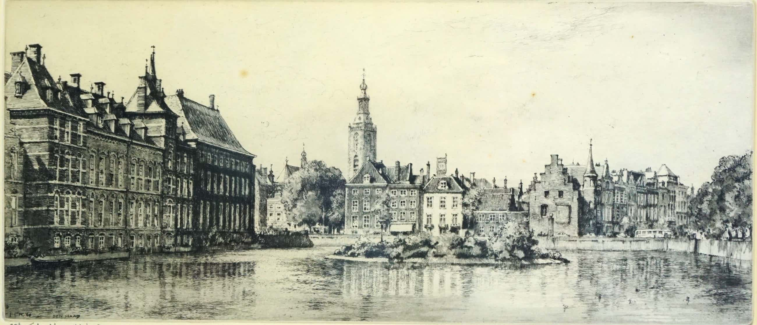 Hendrikus Roodenburg - Ets - Den Haag, Hofvijver - 1960 kopen? Bied vanaf 85!