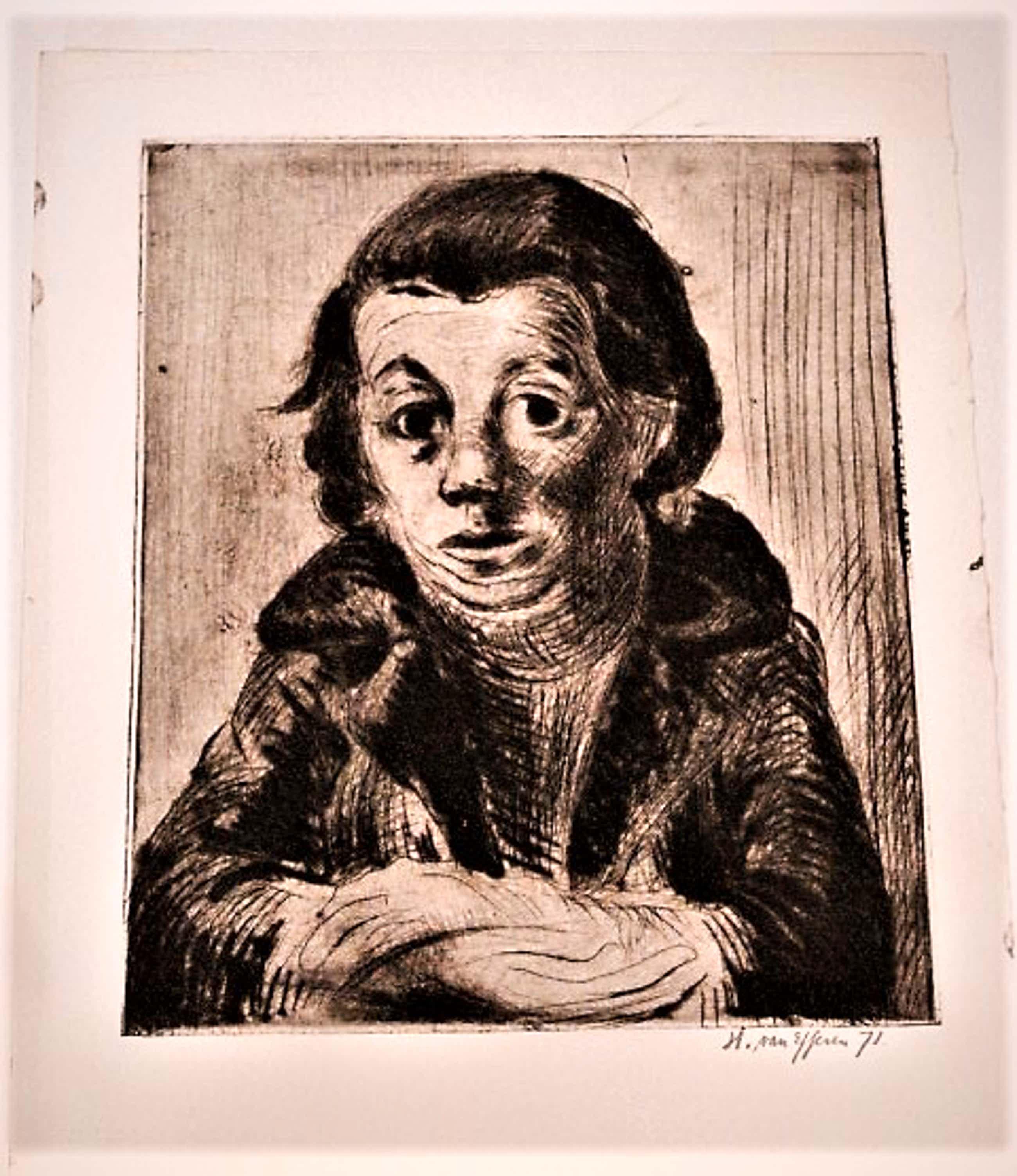 """Hans van Efferen - Krachtige zwart-wit Lino/Houtsnede """"Zelfportret 37 jaar oud"""" gesigneerd kopen? Bied vanaf 30!"""