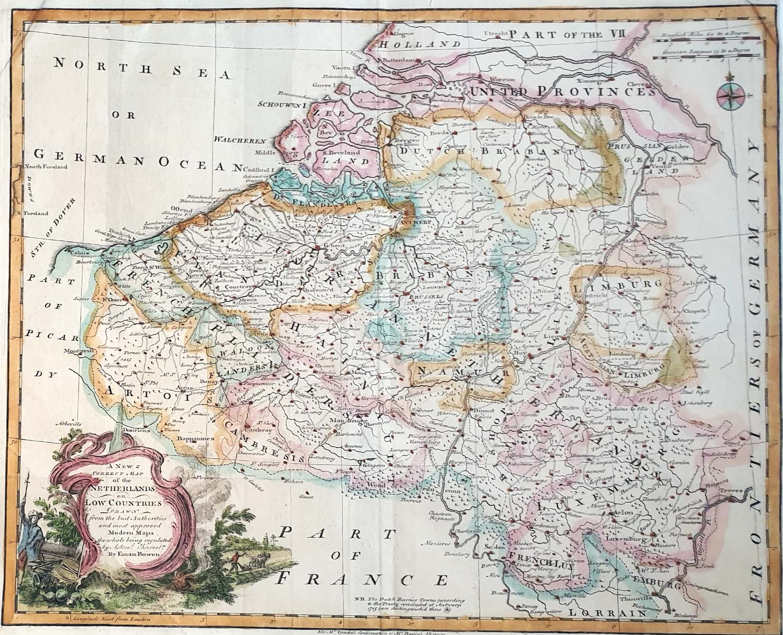 Emanuel Bowen - A new and accarute map of the Netherlands or Low Countries 1747 Kopergravure kopen? Bied vanaf 45!