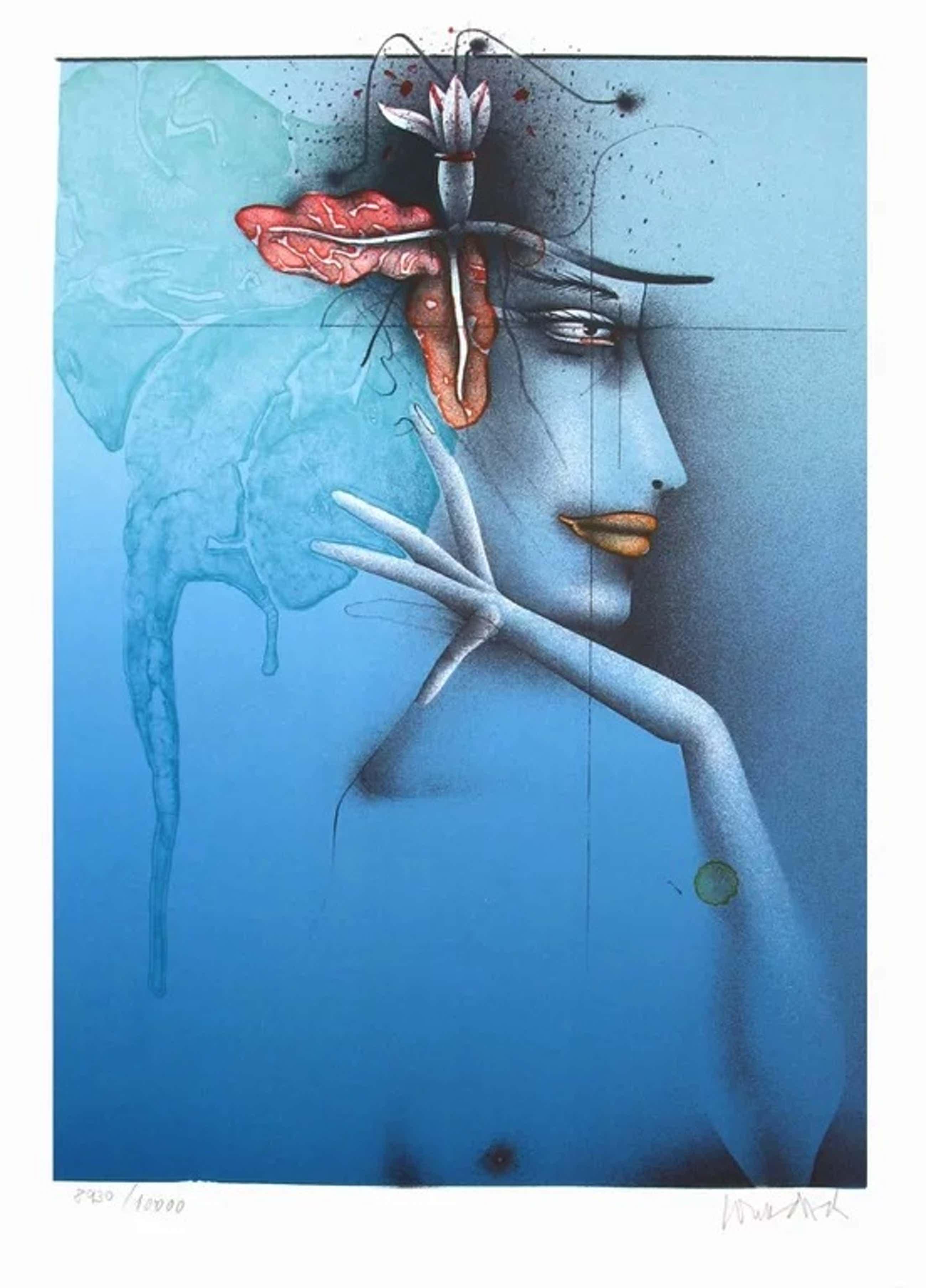 Paul Wunderlich - Tete d' une femme, bleu - Lithografie - Handgesigneerd kopen? Bied vanaf 52!