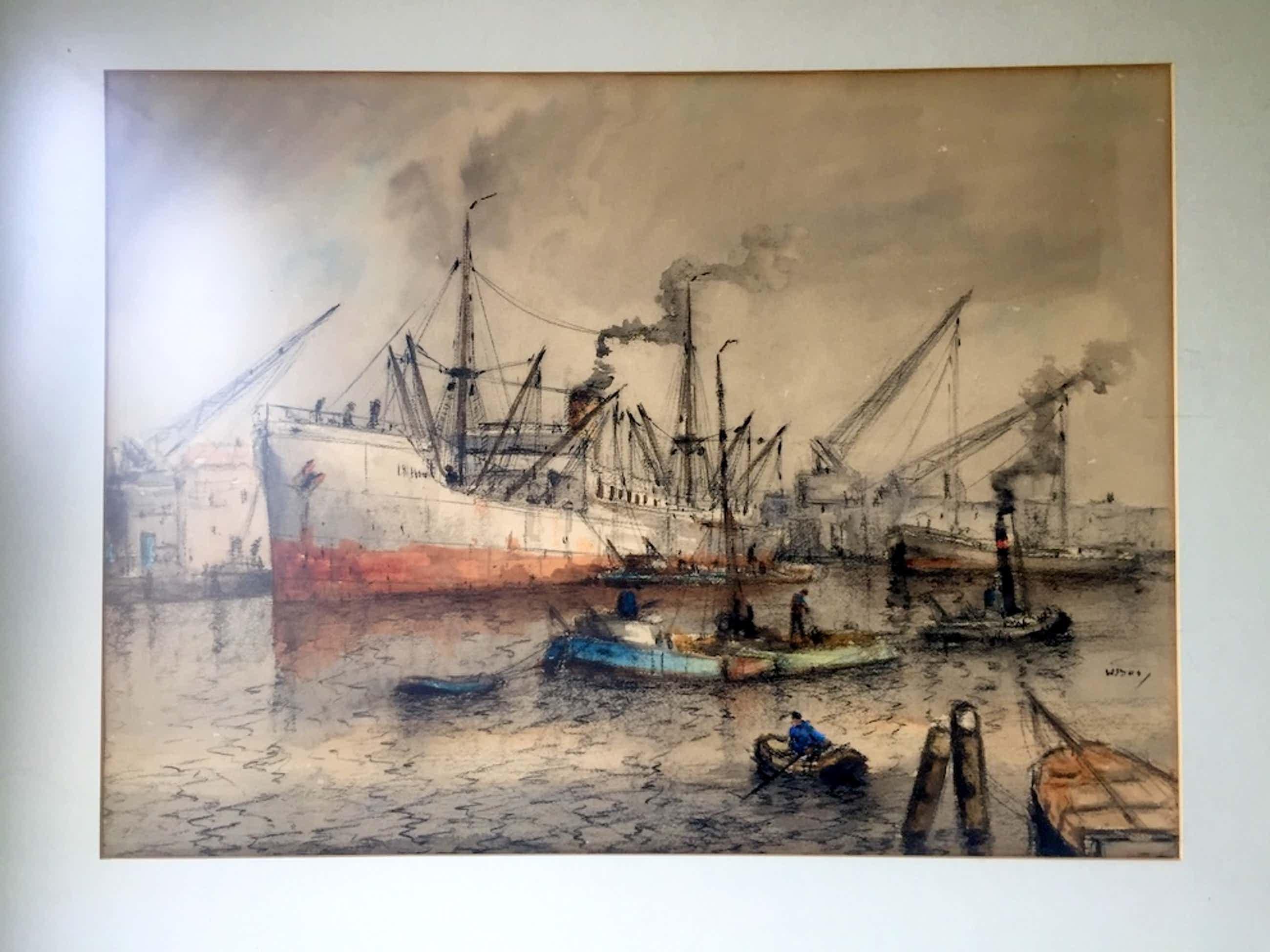 Willem Bos - Drukte in de Rotterdamse Haven - Gemengde techniek, Ingelijst kopen? Bied vanaf 240!