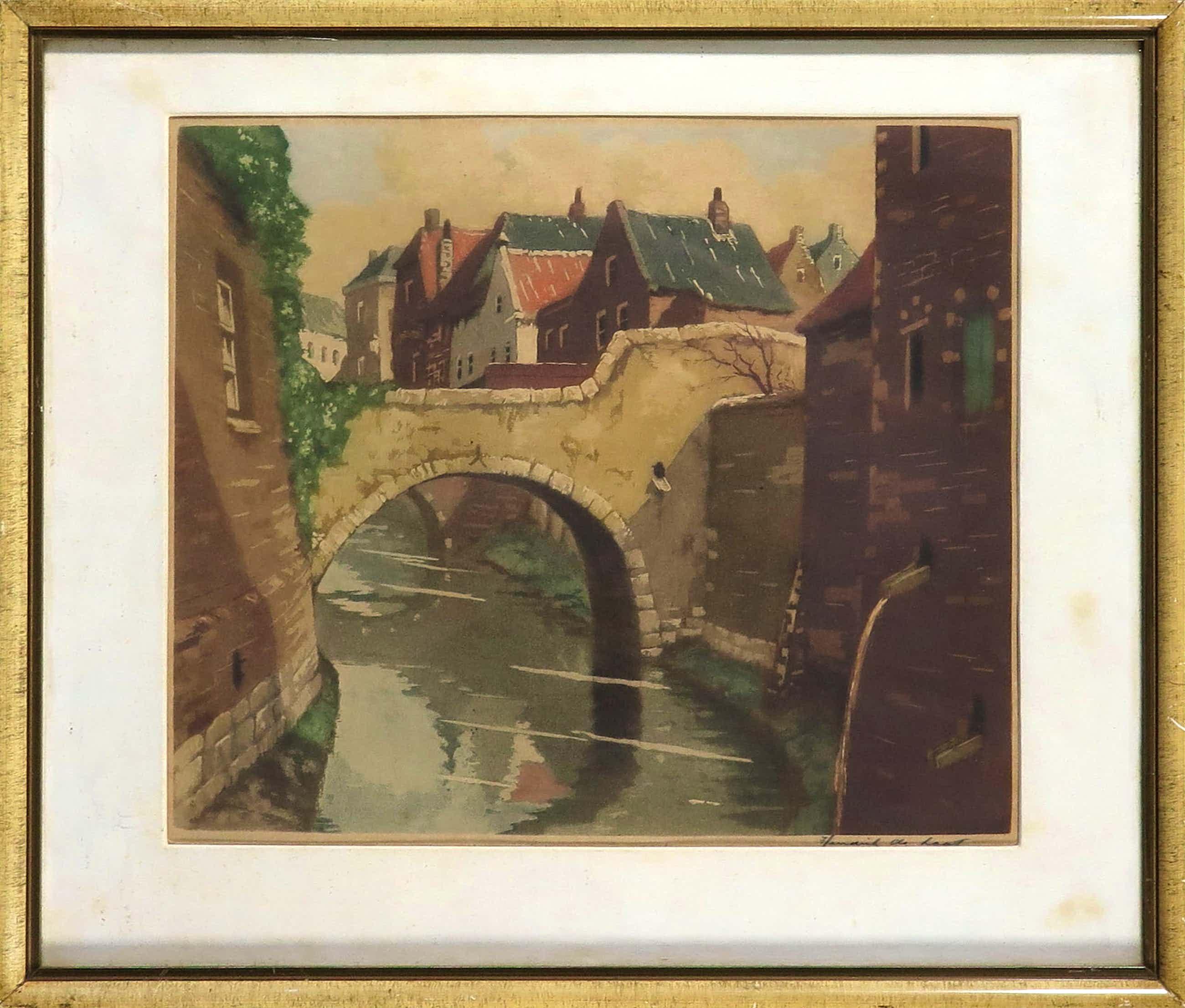 Hendrik de Laat - Aquatint, Stadsgezicht Den Bosch Lieve Vrouwenbrug - Ingelijst kopen? Bied vanaf 40!