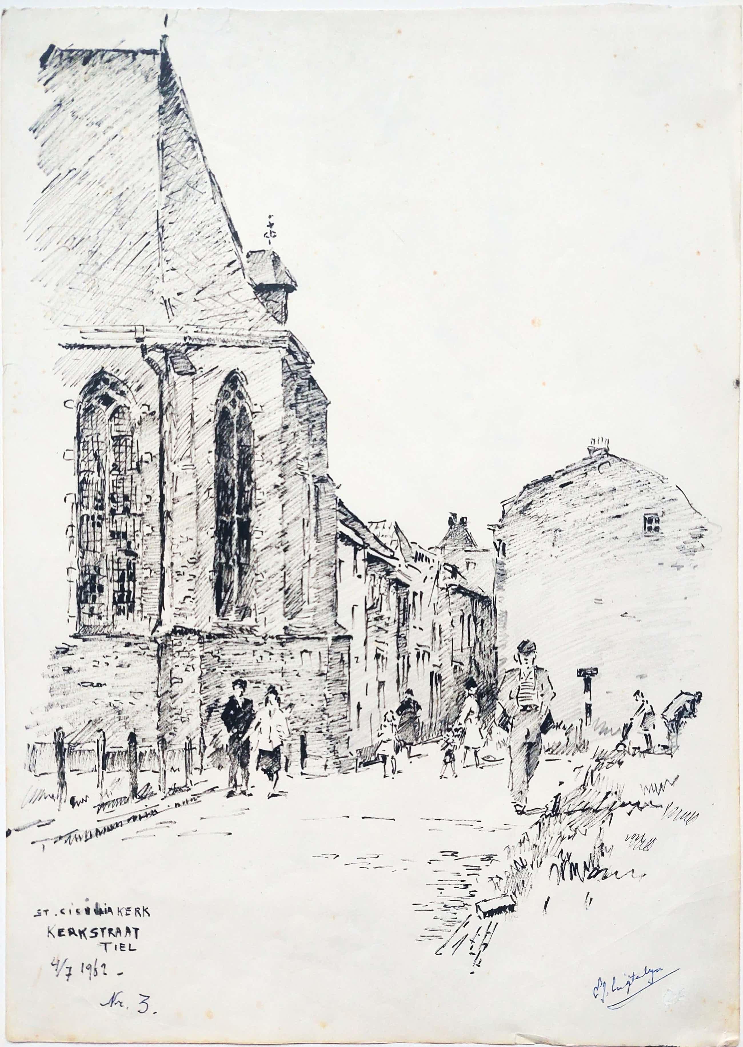 Evert-Jan Ligtelijn - Mooie Inkttekening Tiel 1962 St Caeciliakapel kopen? Bied vanaf 100!