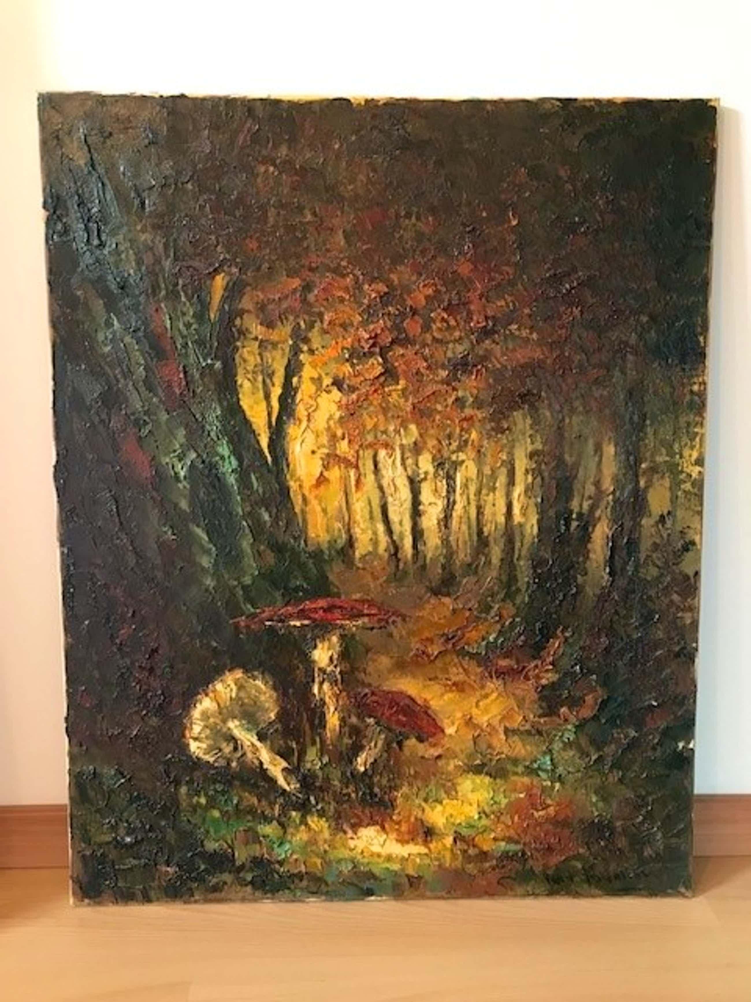 Peter Brouwer - Padestoelen in het bos olieverf op canvas kopen? Bied vanaf 75!
