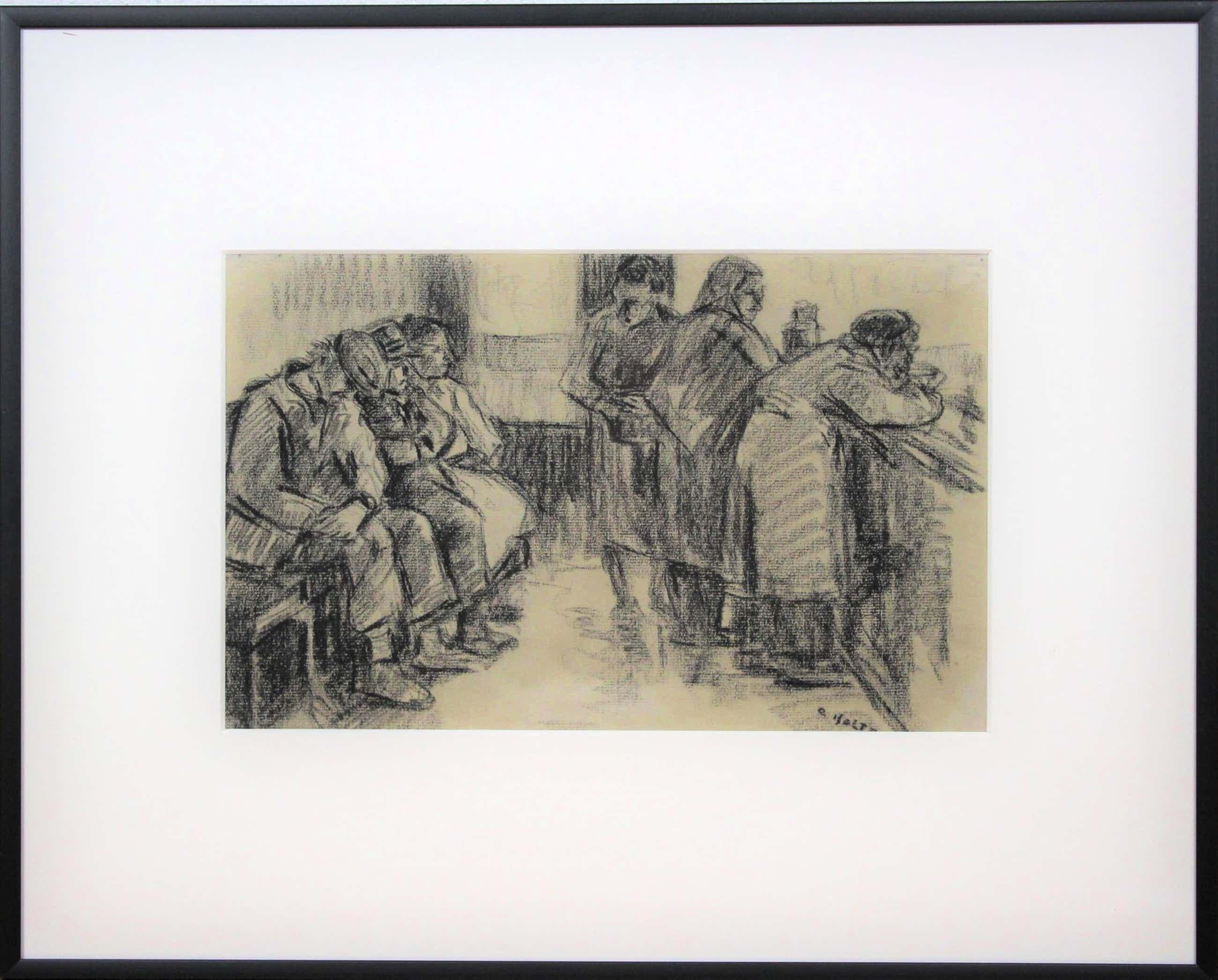 """Cor Noltee - Houtskooltekening op papier - """"Figuren in een wachtruimte"""" kopen? Bied vanaf 195!"""