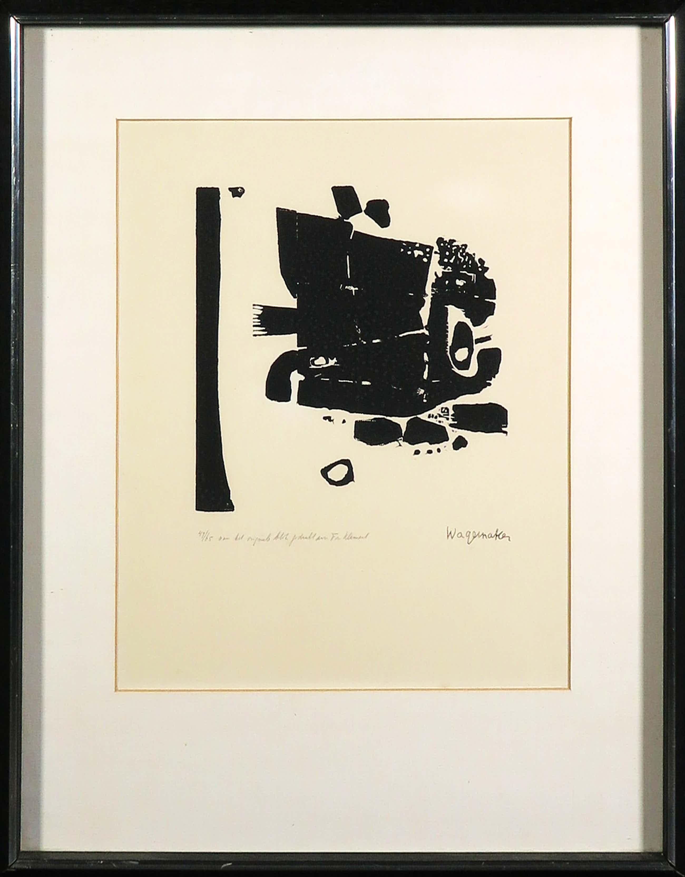 Jaap Wagemaker - Houtsnede, Abstracte compositie - Ingelijst kopen? Bied vanaf 60!