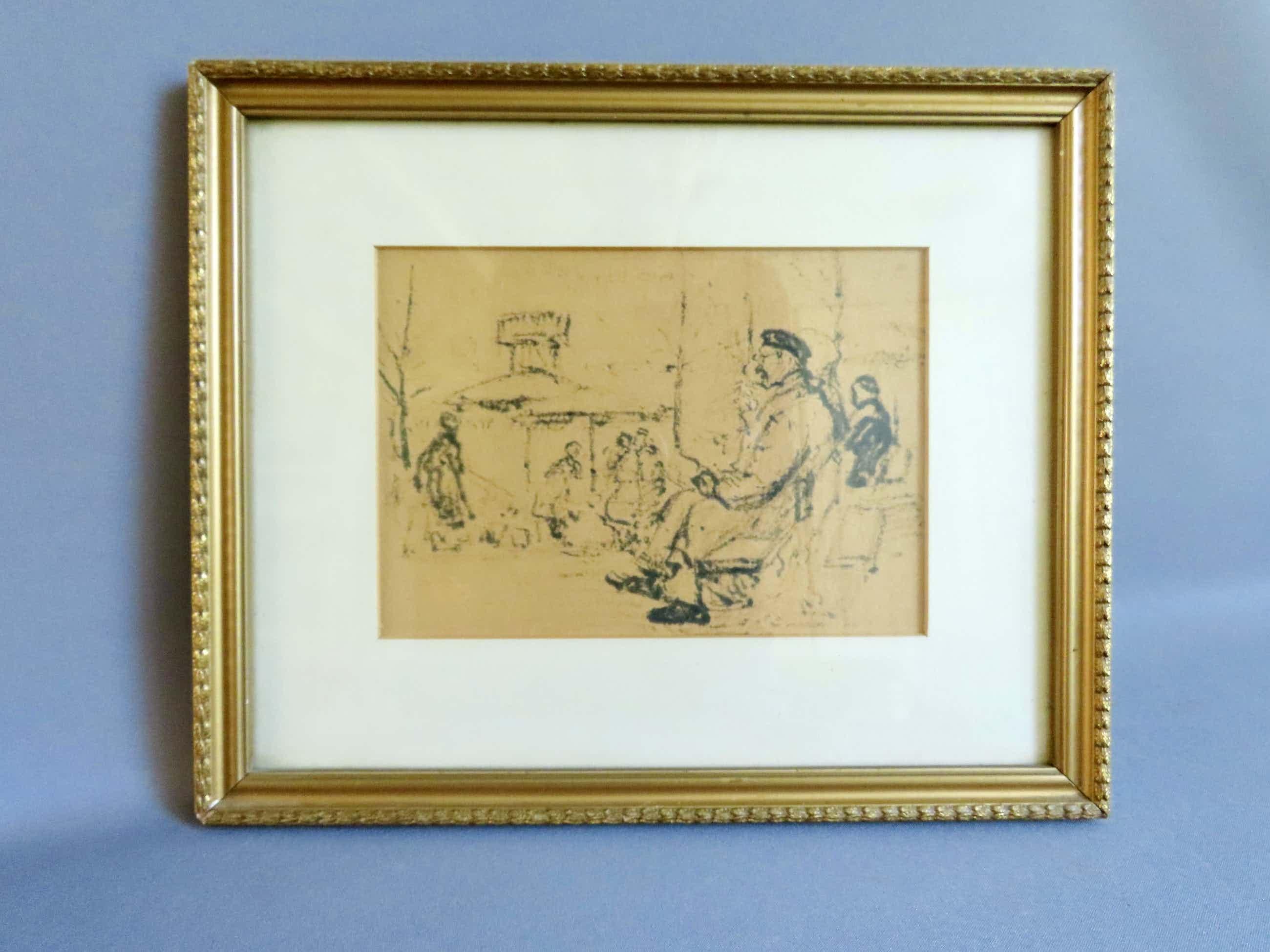 Cor Noltee - (1903-1967) Inkttekening - 'In het park' - kopen? Bied vanaf 100!