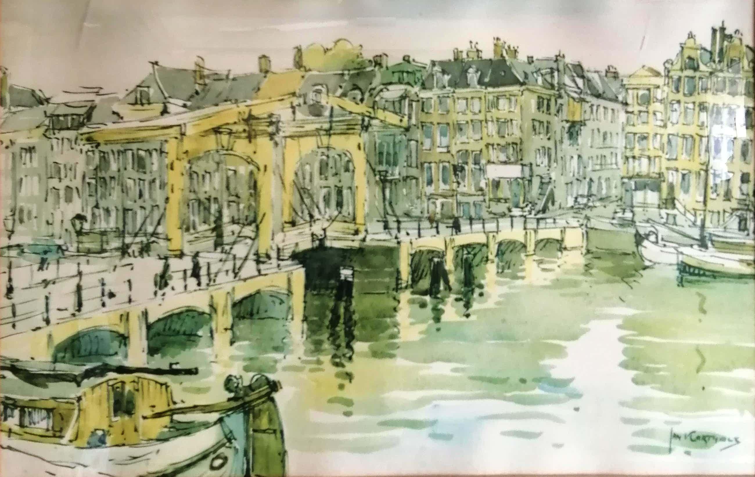 Jan Korthals - (1916-1972) - Magere brug over de Amstel te Amsterdam - 1968 kopen? Bied vanaf 100!